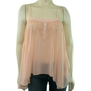 Sheer Pink Camisole Tank Blouse Asymmetrical